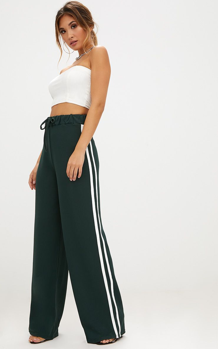 Forest Green Wide Leg Contrast Stripe Track Pants