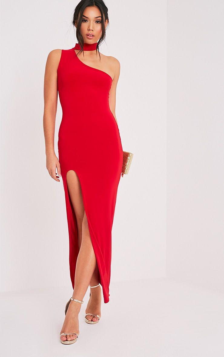 Jiya Red Slinky Choker Neck Maxi Dress