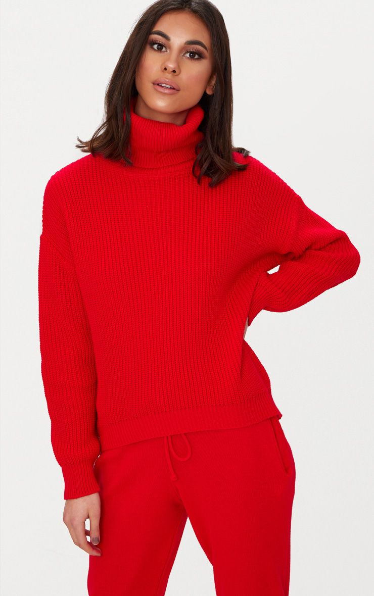 Red Roll Neck Basic Jumper