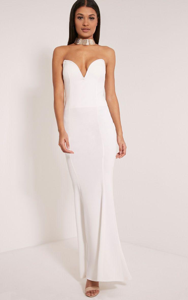 Wendie White Sweetheart Fishtail Maxi Dress 1