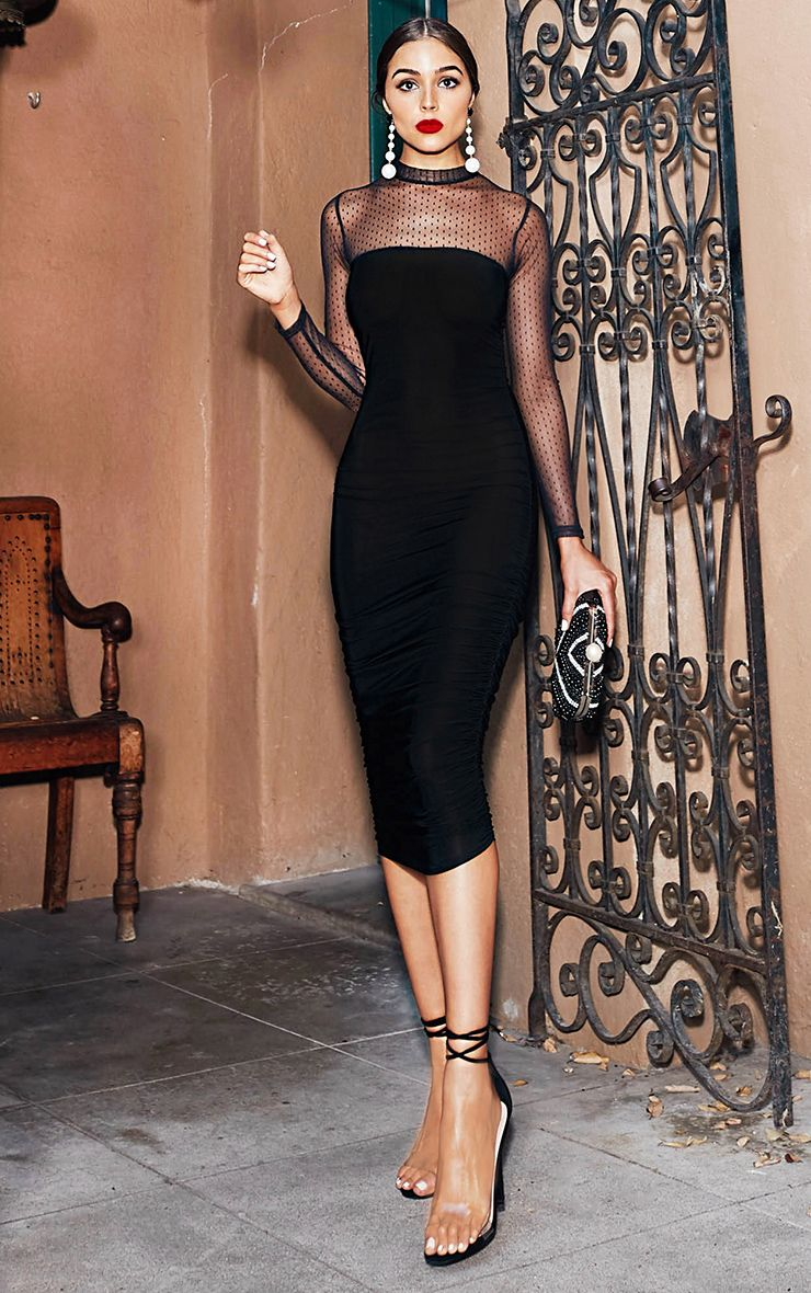 Black Dobby Mesh Bodycon Dress