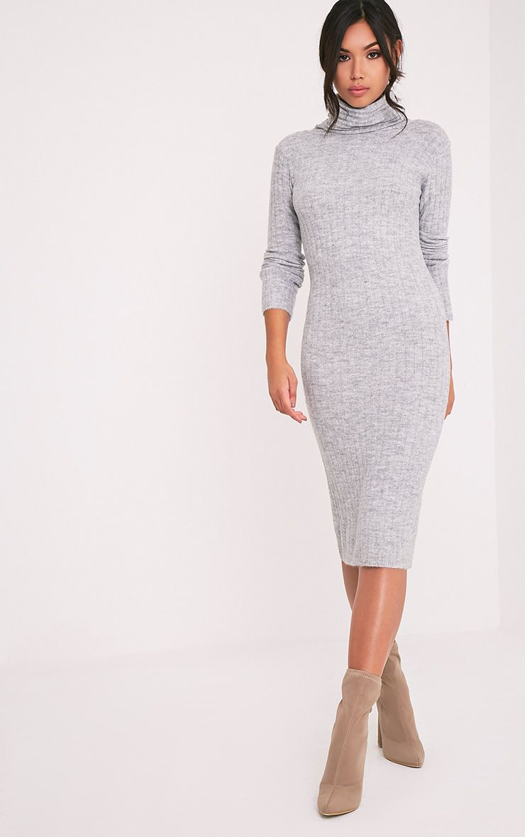 Elishiah Grey Knitted Soft Ribbed Midi Dress 1