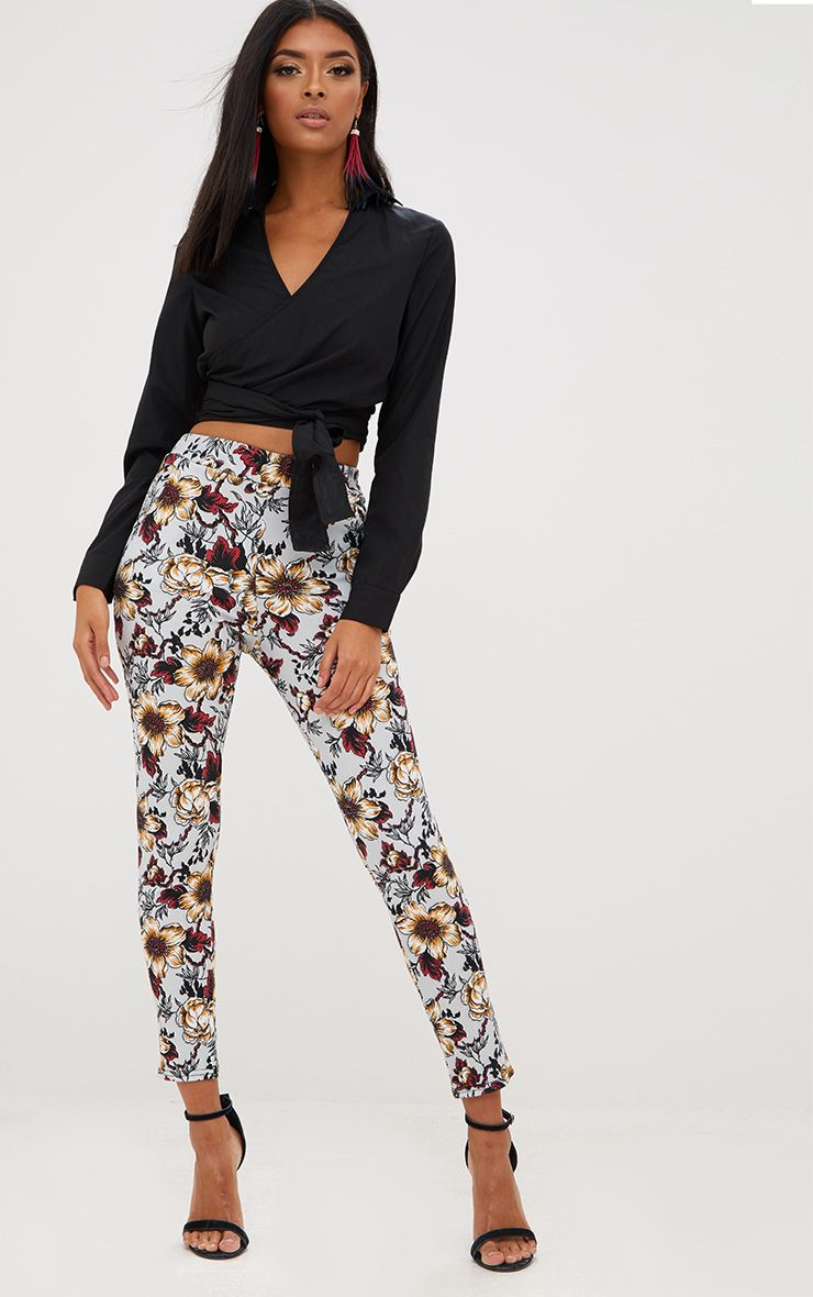 Grey Floral Skinny Trousers