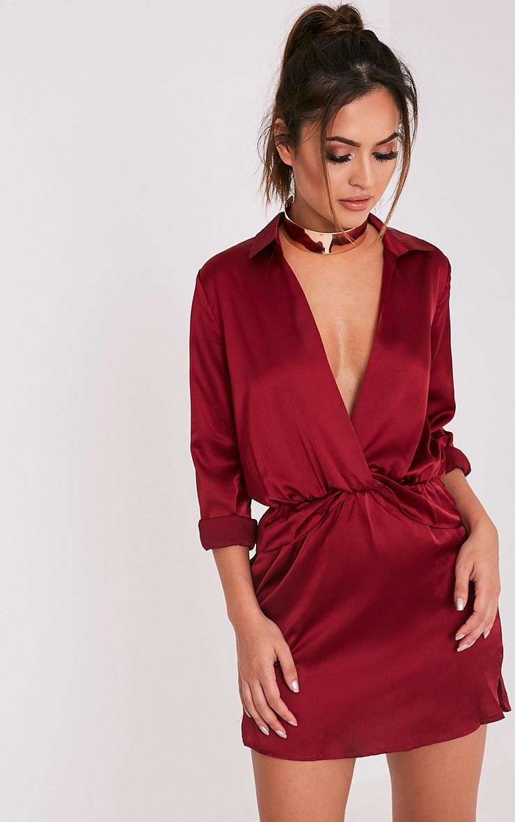 Katalea Burgundy Twist Front Silky Shirt Dress