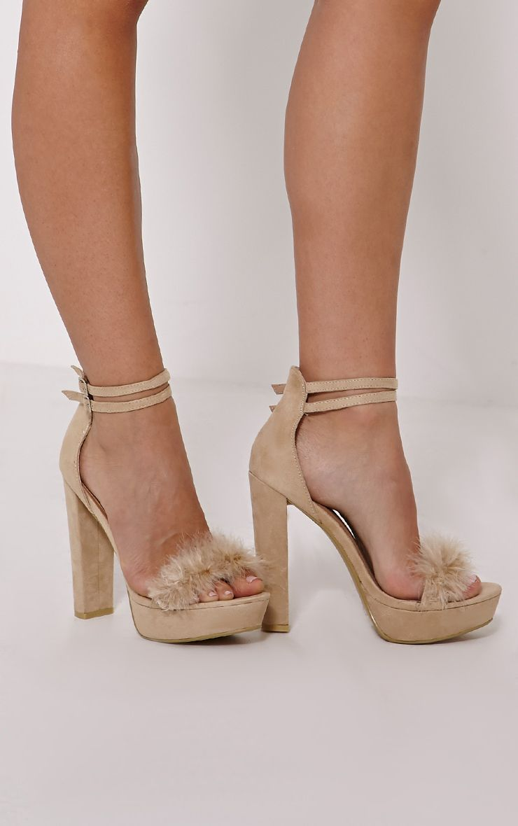 Kia Cream Fluffy Heeled Sandals 1