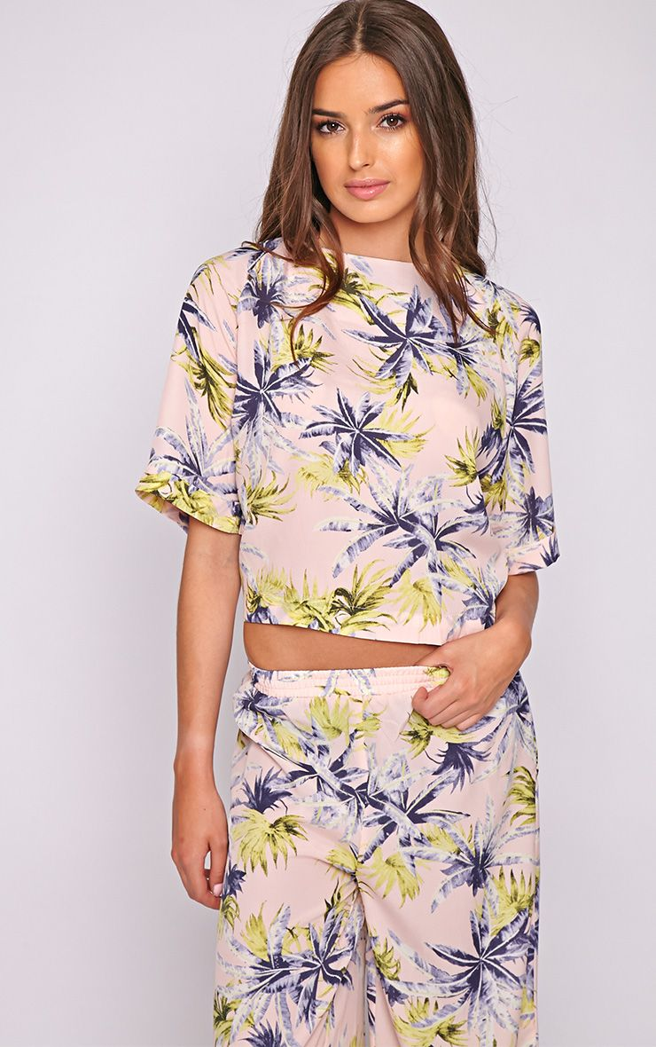 Jocelyn Pink Leaf Print Boxy Top -M 1