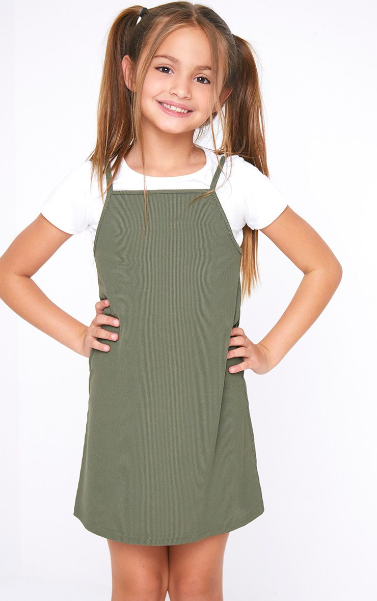 Rib 2 In 1 Khaki Dress