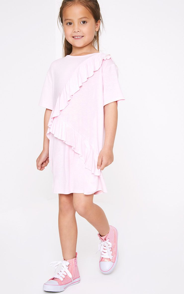 Pink Ruffle Front T shirt Dress