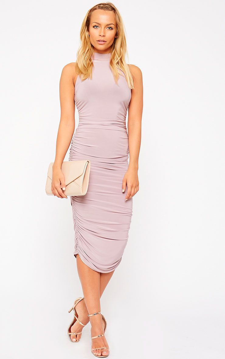 Alabama Mauve Slinky High Neck Ruched Sides Dress 1