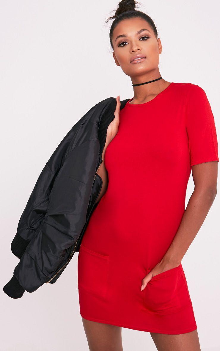 Basic Red Pocket Detail T Shirt Dress 1