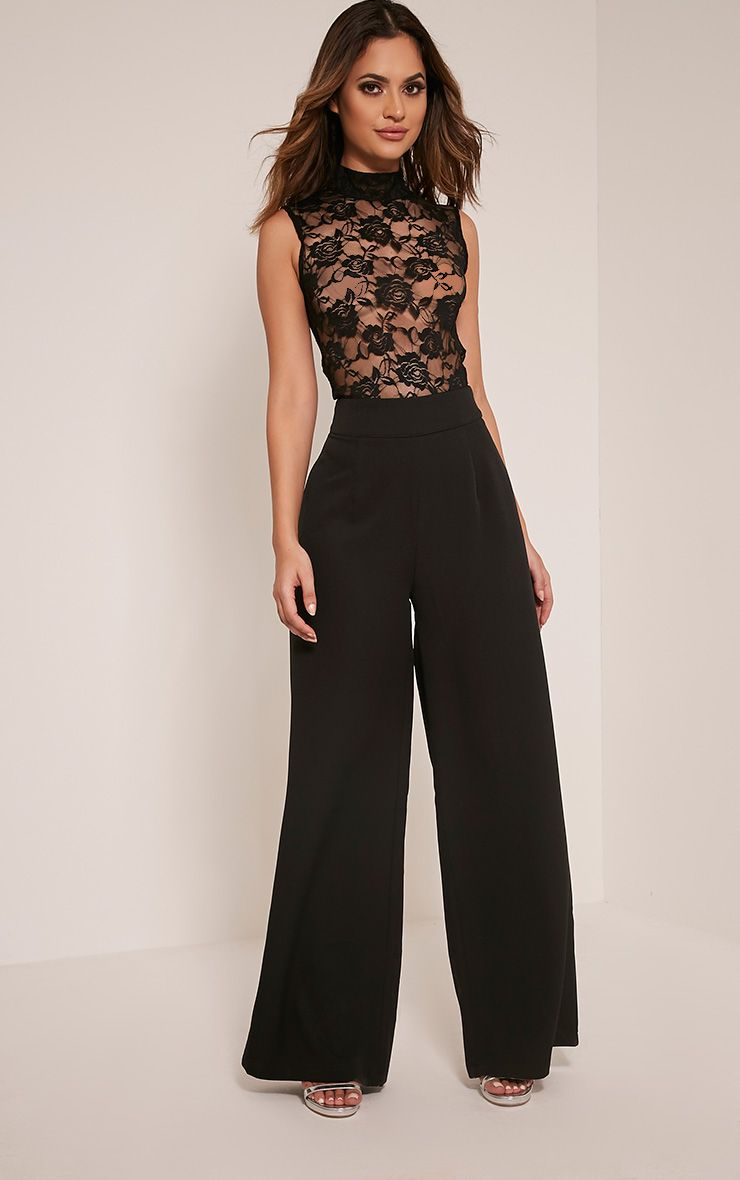 Miley Black Sleeveless Lace Top Jumpsuit