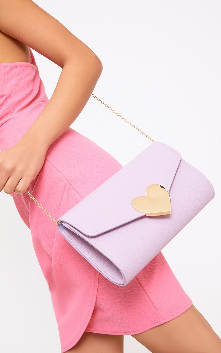 Lilac Heart Fasten Shoulder Bag