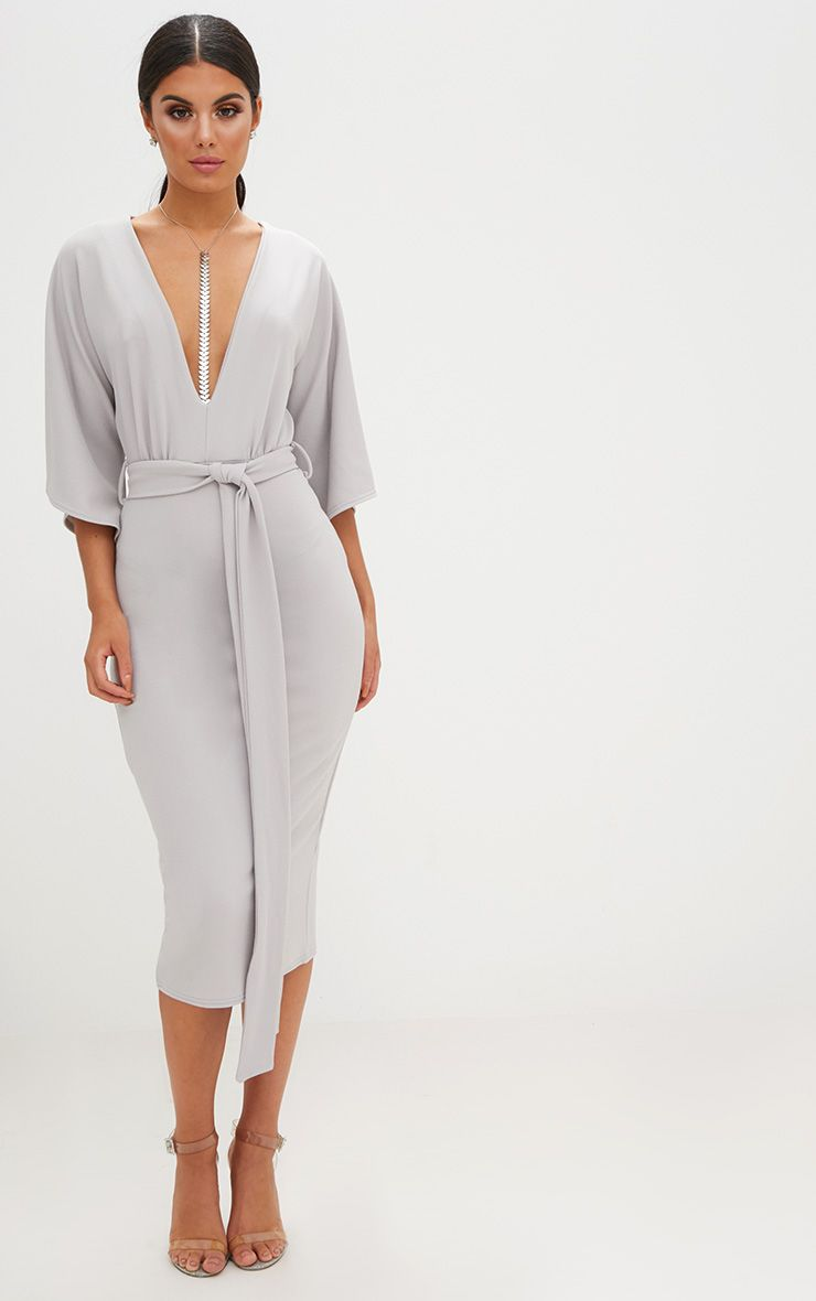 Ice Grey Kimono Sleeve Tie Waist Midi Dress