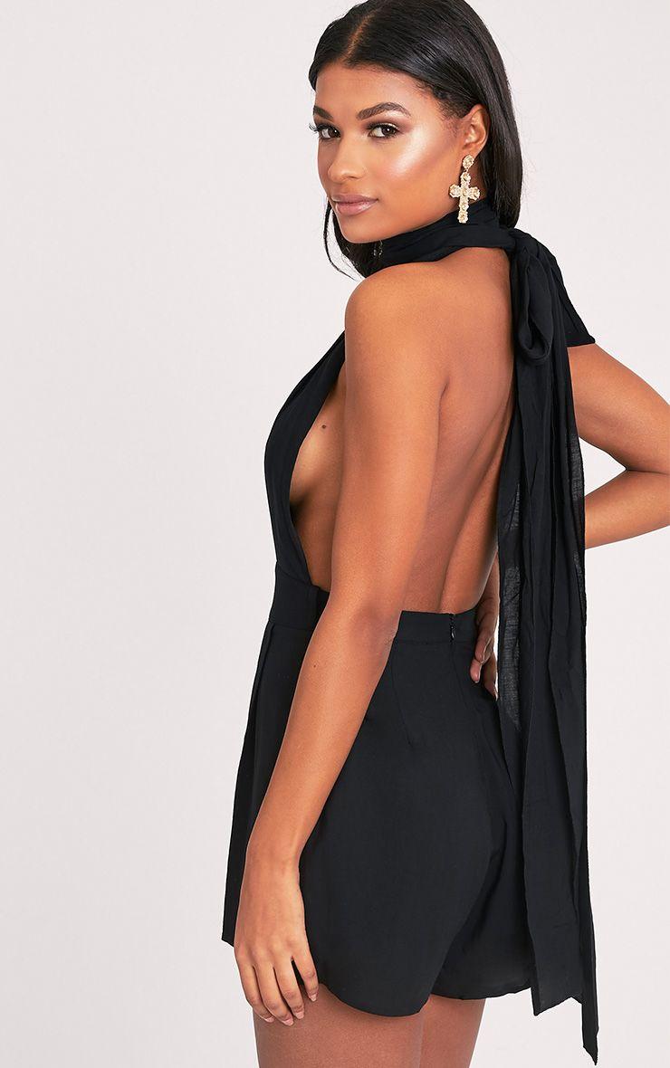 Ailee Black Tie Back Playsuit 7