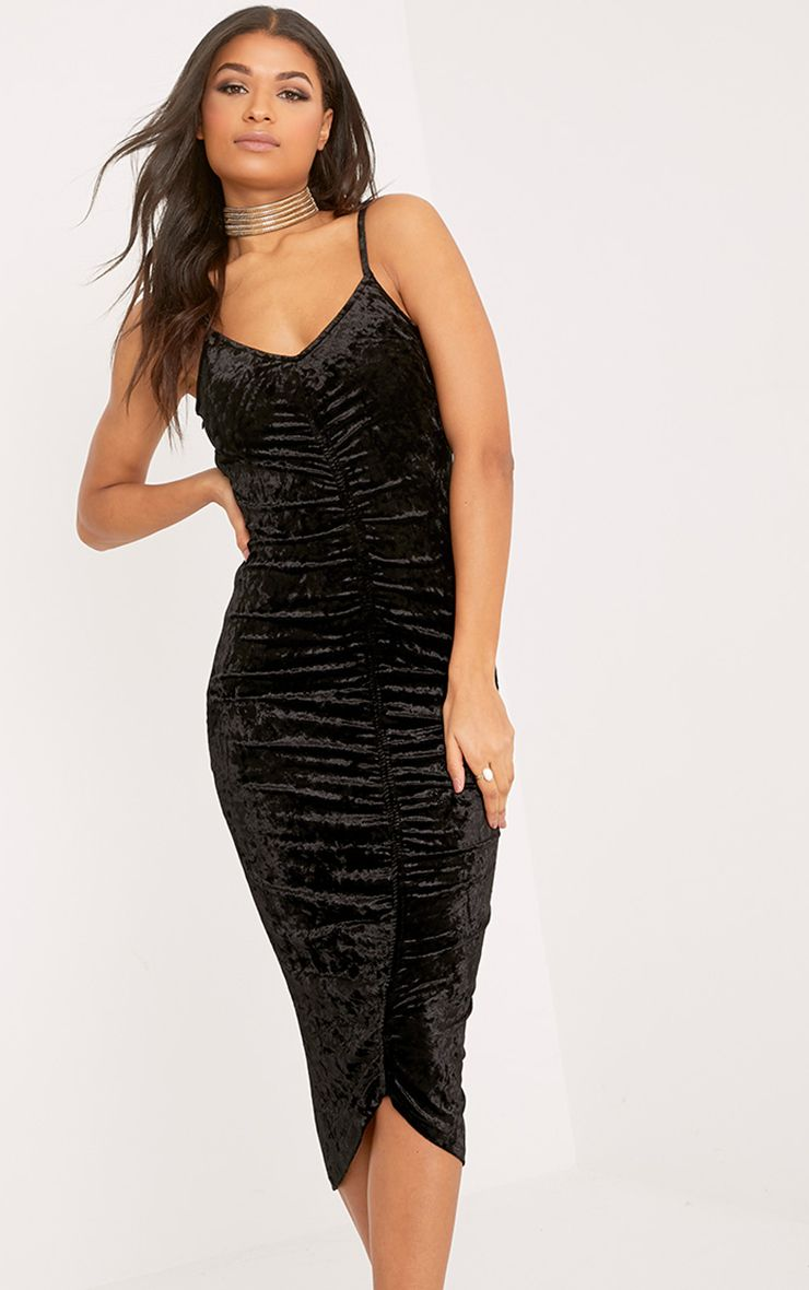 Lia Black Crushed Velvet Ruched Midi Dress