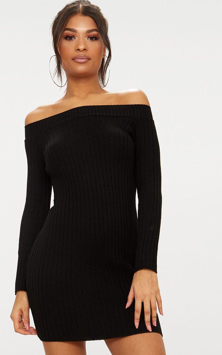 Black Knit Bardot Mini Jumper Dress