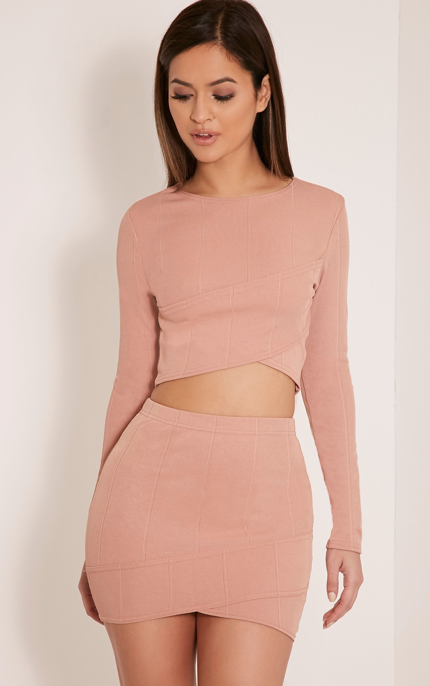 Alena Nude Cross Front Bandage Mini Skirt 1