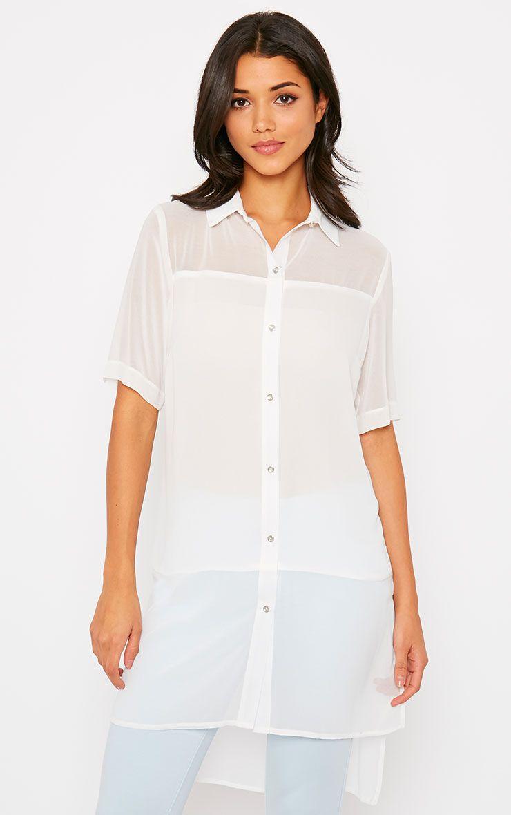 Lindy White Short Sleeve Sheer Blouse 1
