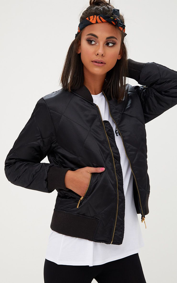 Black Satin Quilted Bomber Jacket