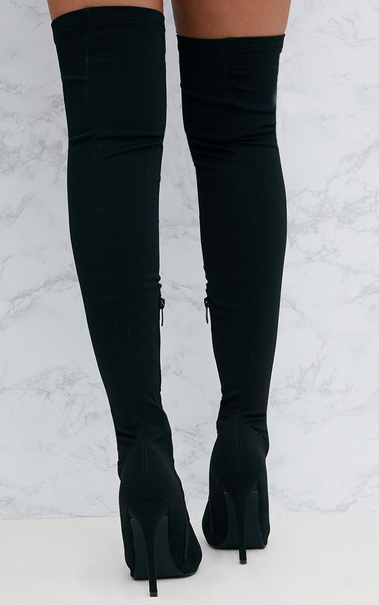 Black Thigh High Lace Up Heeled Sock Boots Shoes