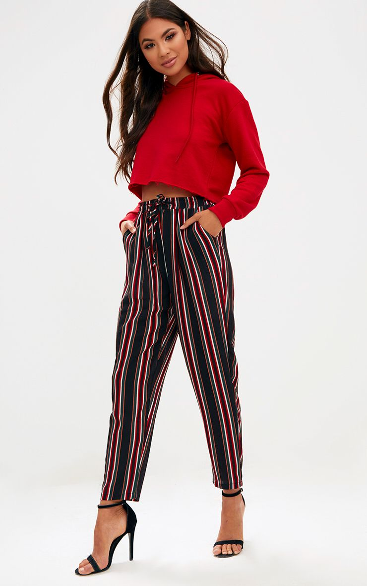 Black Stripe Casual Trousers