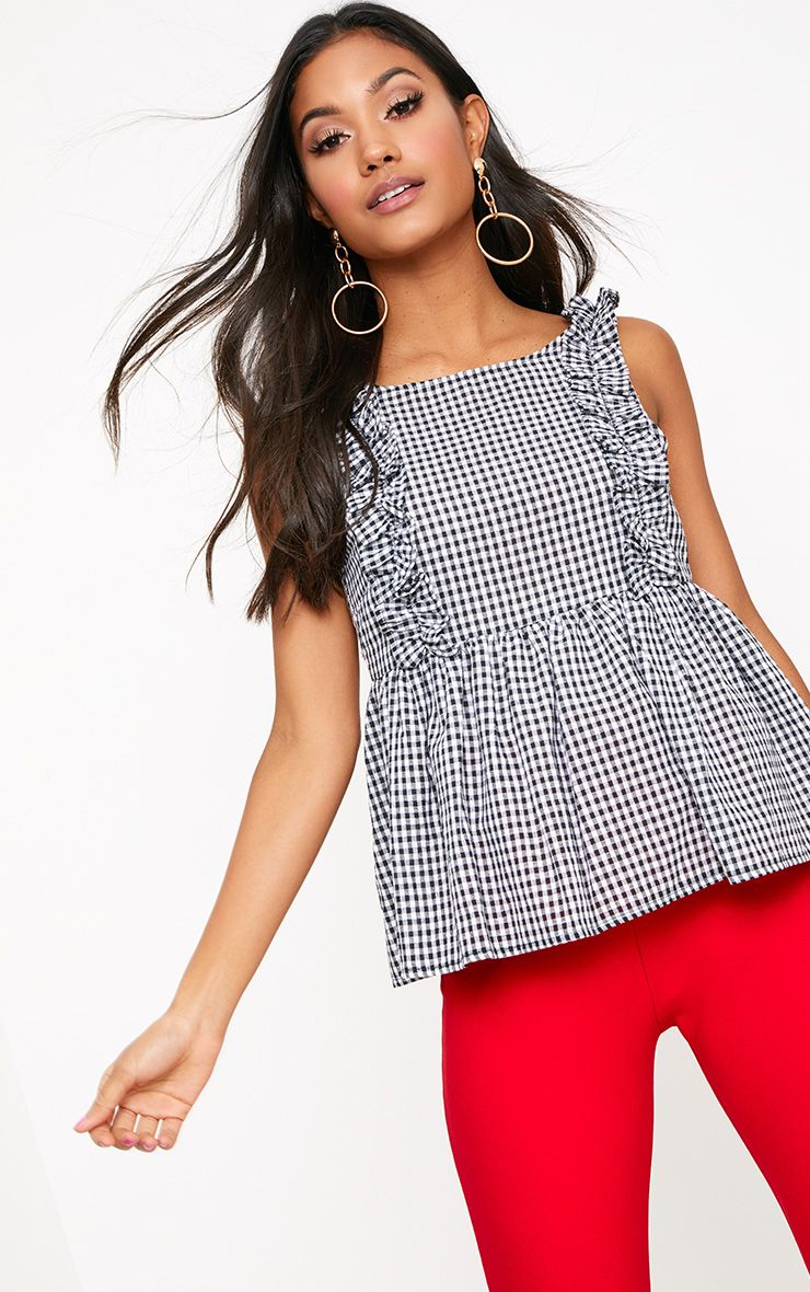 Black Gingham Frill Smock Top