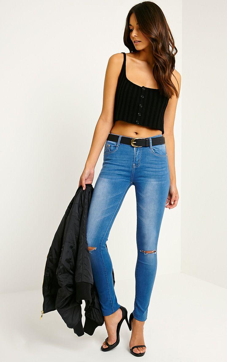 Tammy Blue Rip Knee Skinny Jean 1