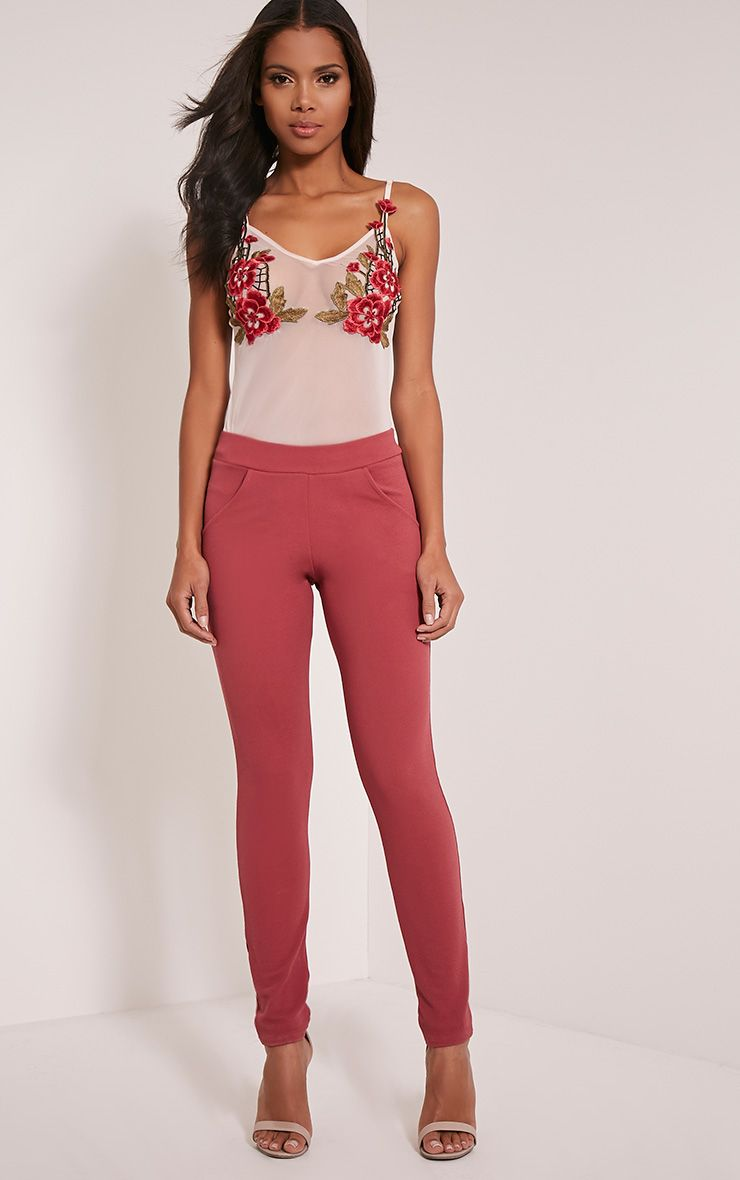 Sage Rose Crepe Cigarette Trousers 1