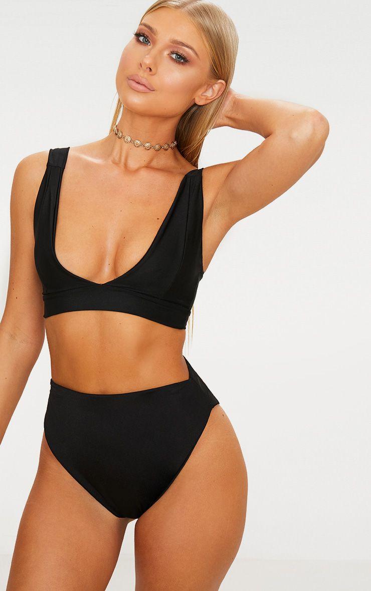 Black Mix & Match High Waisted High Leg Bikini Bottom