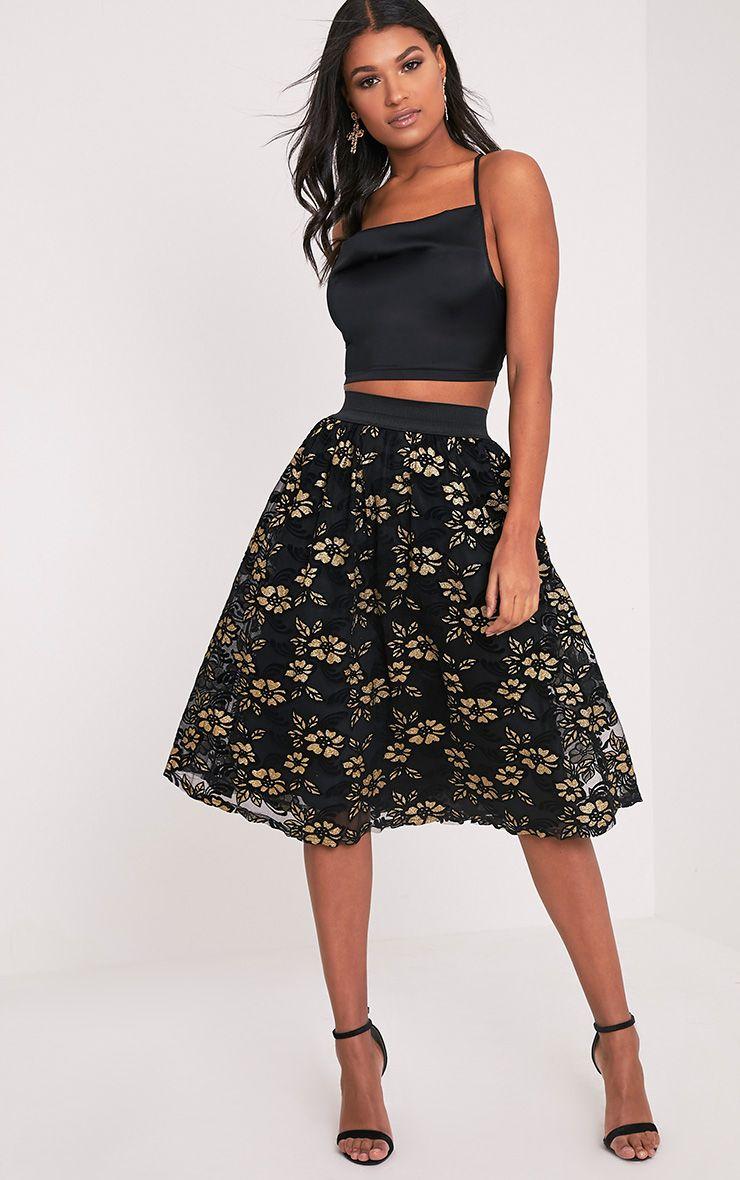 Tilla Black Glitter Floral Tulle Skirt 1