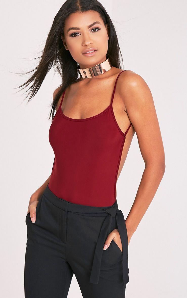 Devonna Burgundy Backless Slinky Thong Bodysuit 1