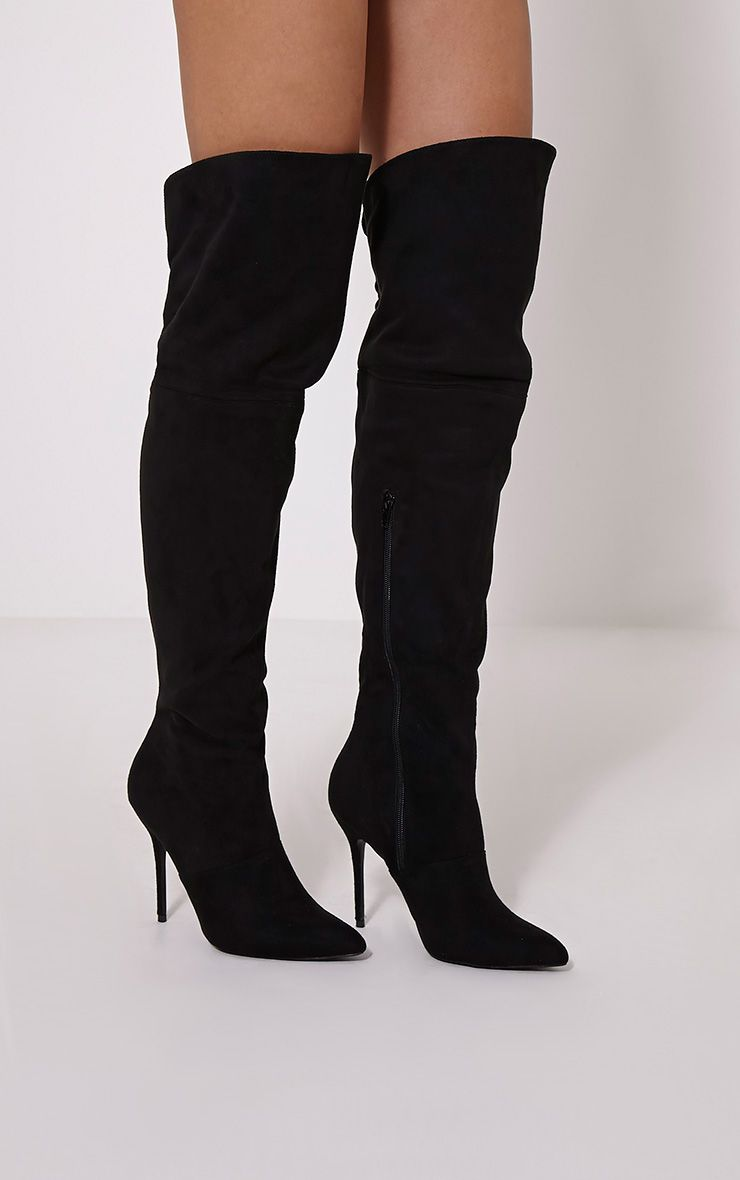 Adiah Black Lace Up Detail Over The Knee High Boots 1
