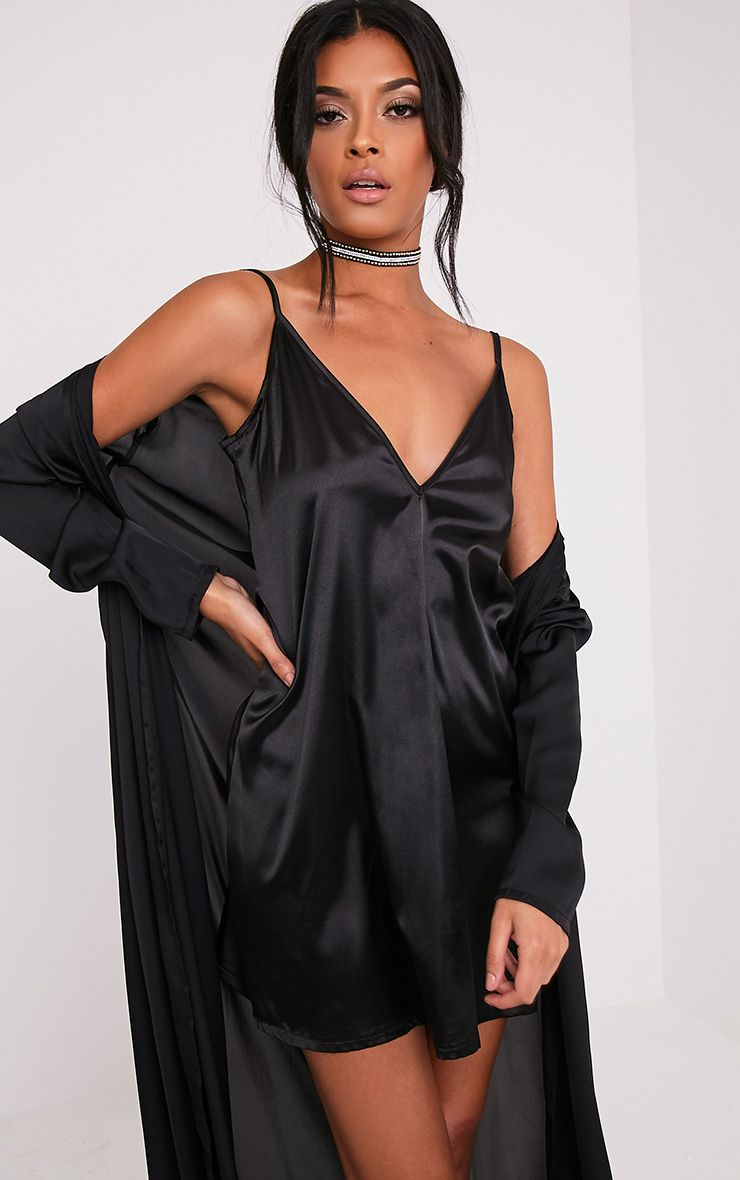 Erin Black Plunge Satin Slip Dress
