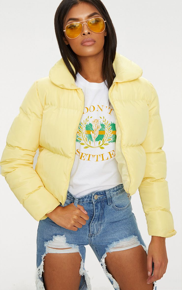 Lemon Cropped Puffer Jacket