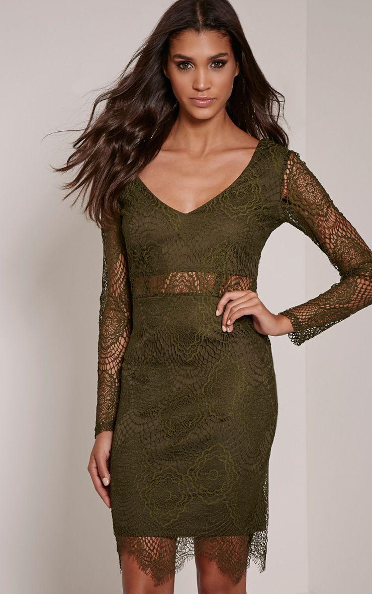 Lynda Khaki Scalloped Lace Midi Dress 1
