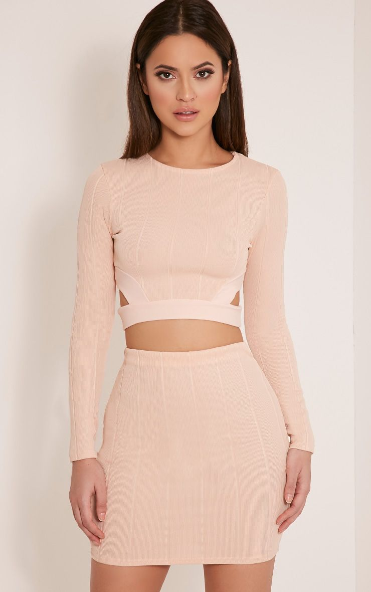 Miriam Nude Cut Out Long Sleeve Bandage Crop Top 1