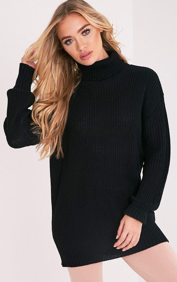 Zora pull noir tricoté surdimensionné à col roulé 1