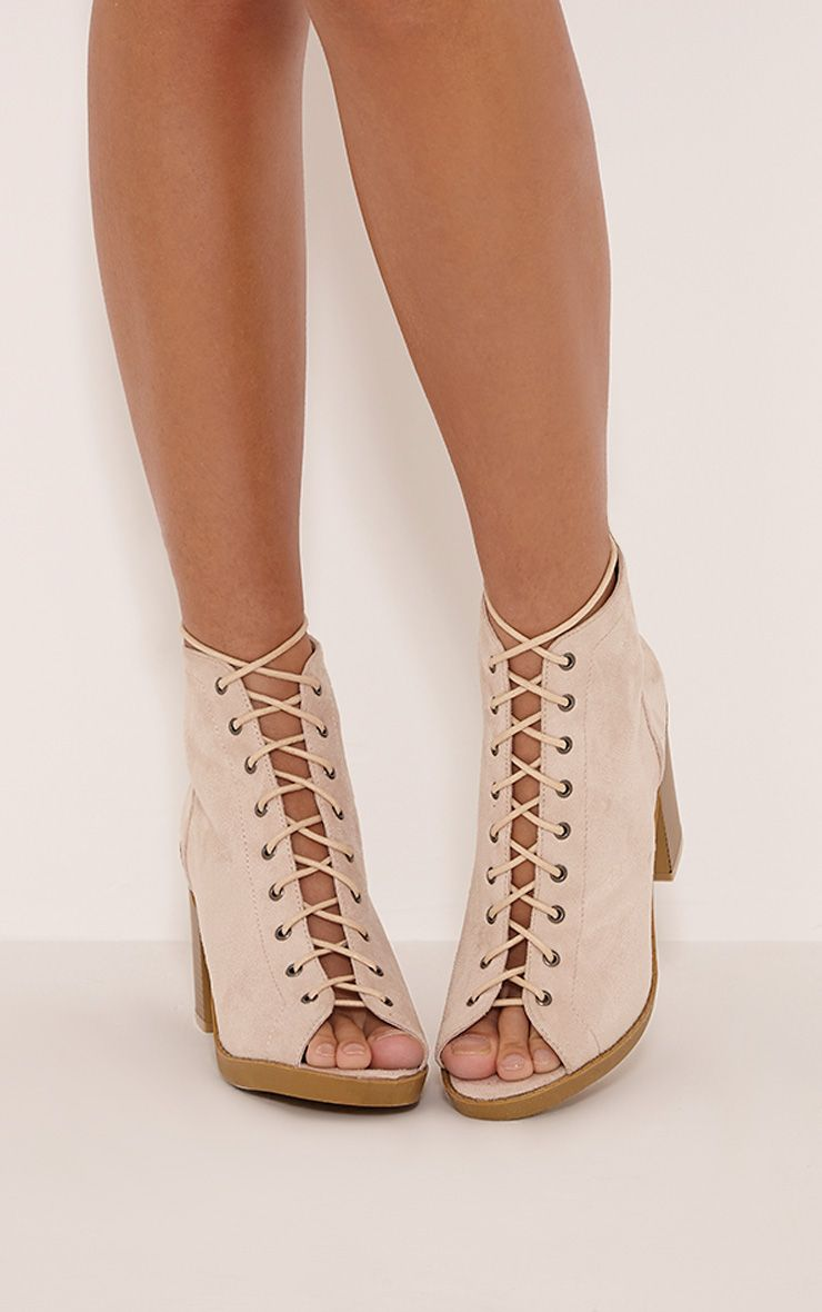 Valento Cream Faux Suede Lace Up Peep Toe Ankle Boots 1