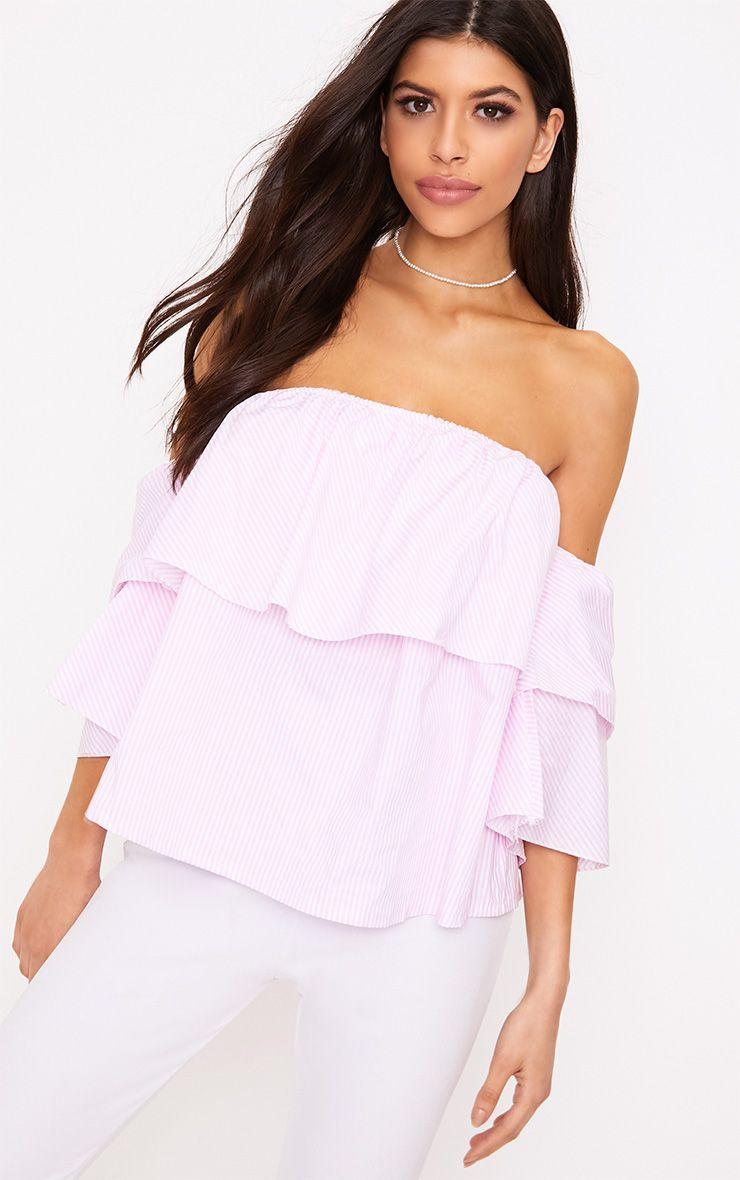 Kaarina Pink Stripe Bardot Shirt