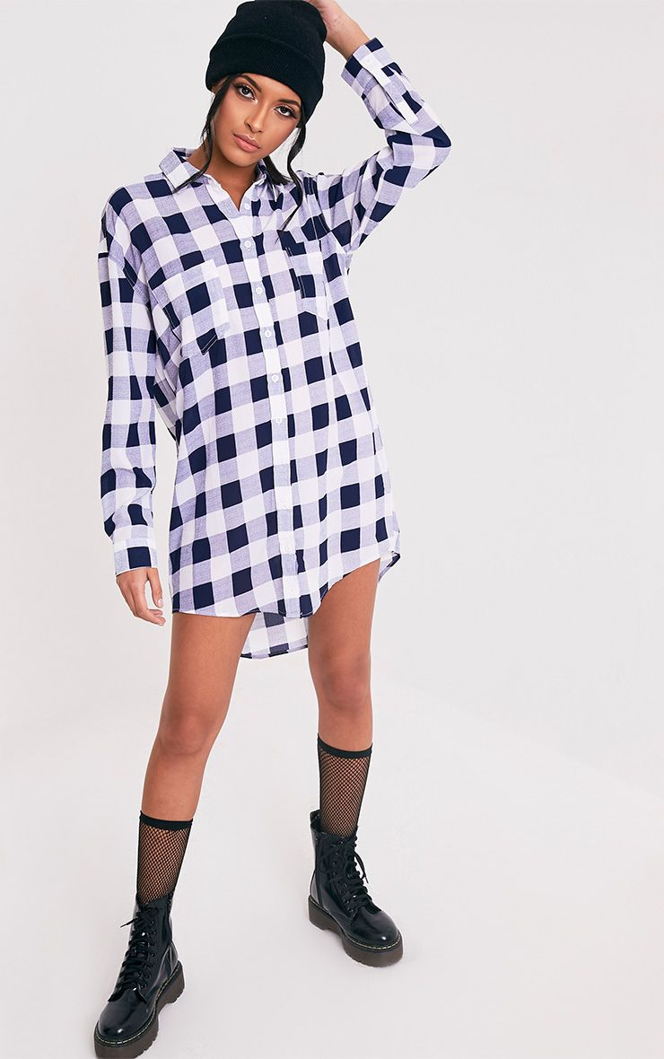 Perrie Blue Oversized Checked Shirt Dress