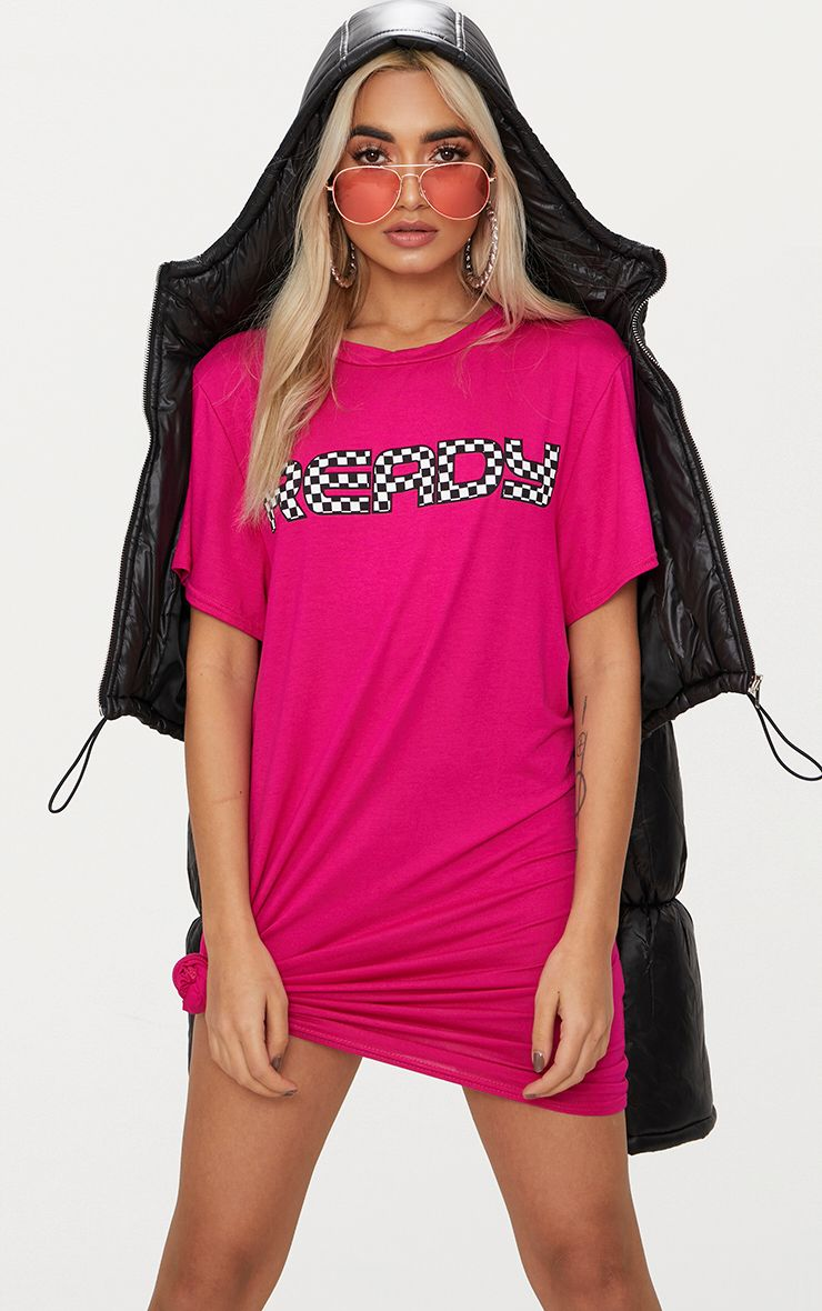 Ready Fuchsia T Shirt Dress