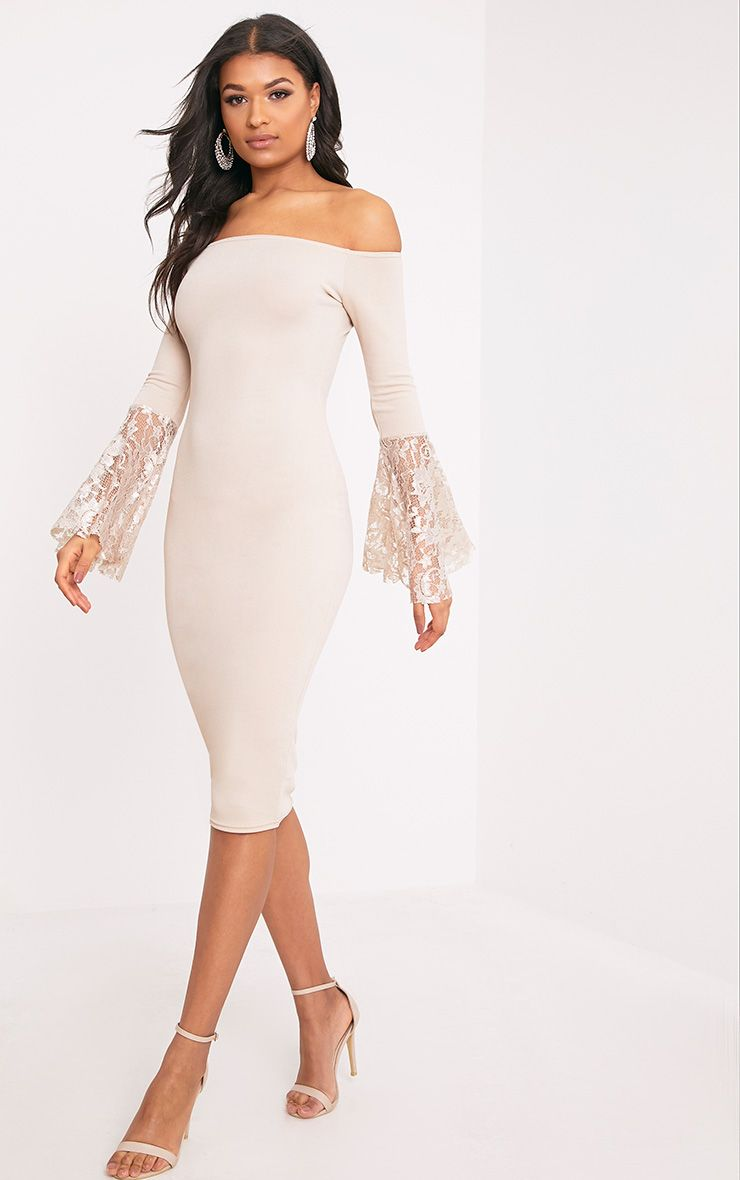 Tayler Nude Bardot Lace Flared Sleeve Midi Dress