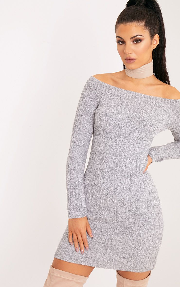 Julia Grey Knit Bardot Mini Jumper Dress