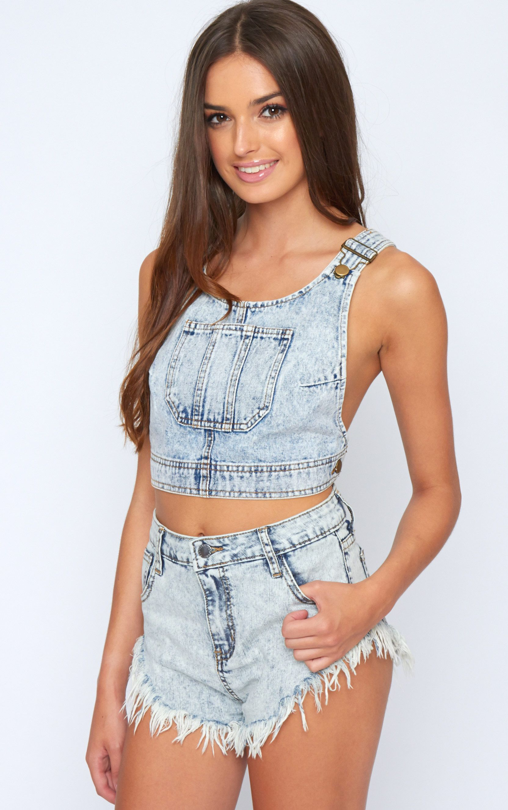 Celia Denim Crop Top 1