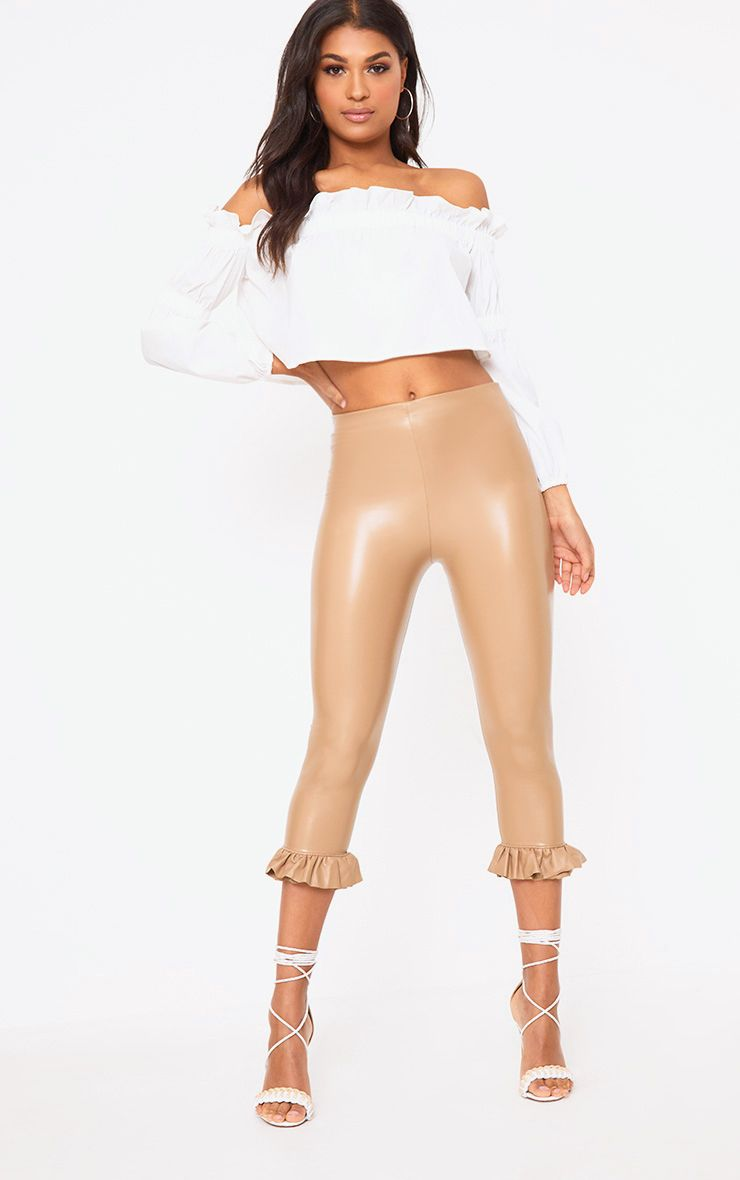 Camel PU Frill Hem Cropped Trousers