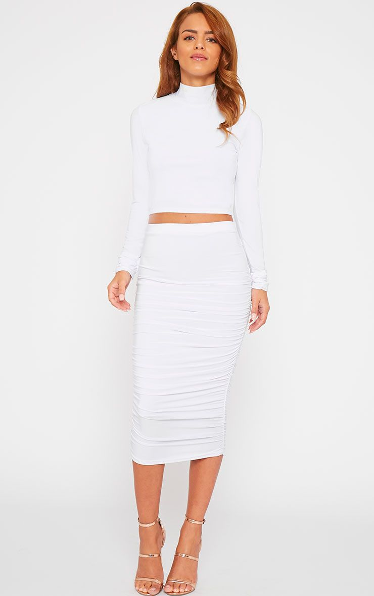 Saylor White Slinky Gathered Midi Skirt 1