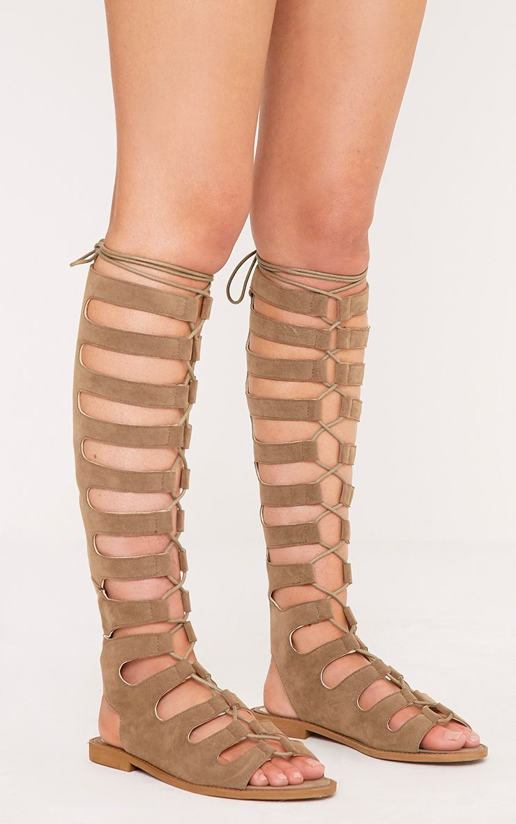 Levina Taupe Faux Suede Long Gladiator Sandals 1