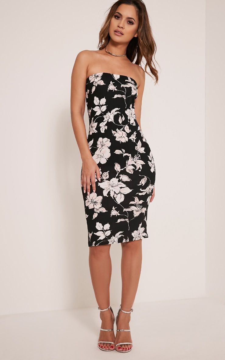Jasmea Black Lily Print Bandeau Midi Dress 1