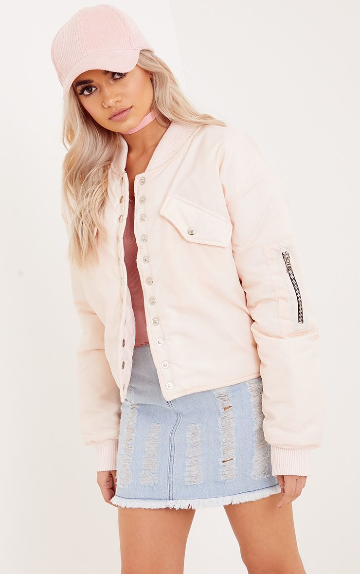 Janeila Nude Military Button Detail Bomber