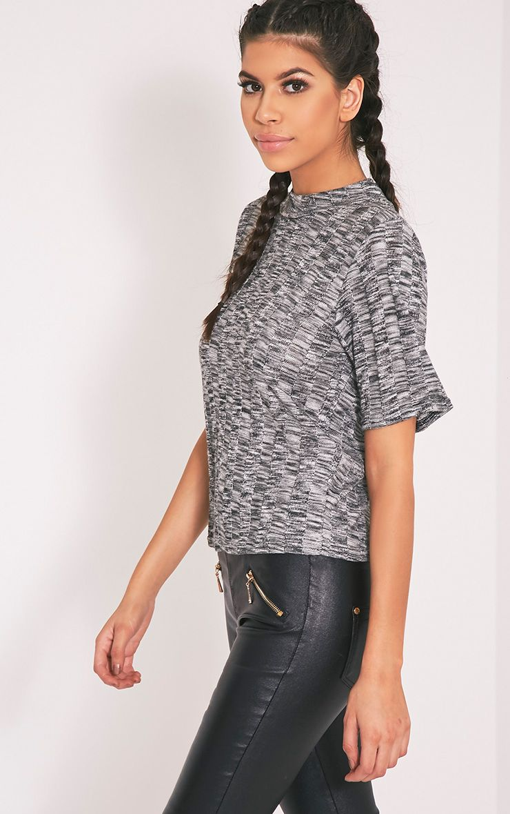 Laylae Grey Fine Knit Short Sleeve Top 3